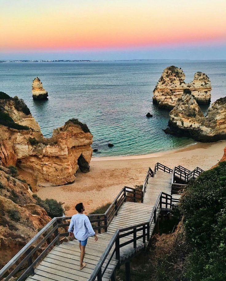 Praia do Camilo, Portugal via Adam Gallagher #traveltoportugal