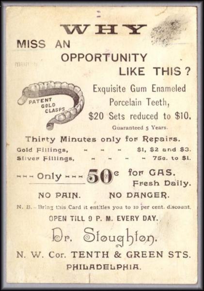 False Teeth Dentist Dentures Trade Card Stoughton Phila Ebay Dental Fun Teeth Dentist Dental Marketing