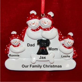 Snow Family Of 4 With Black Dog Christmas Ornament In 2020 Family Christmas Ornaments Personalized Christmas Ornaments Dog Christmas Ornaments