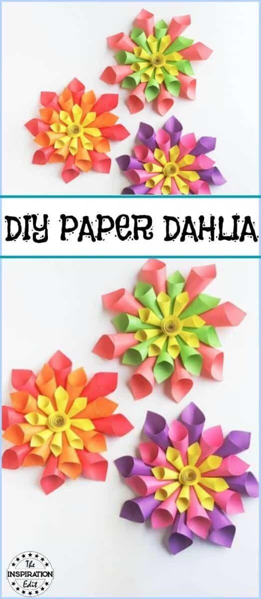 Diy Paper Dahlia Flower Craft For Kids Crafts Paper Flowers