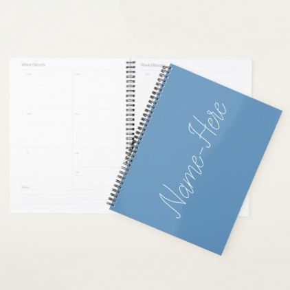 Basic, Simple, Blue Background and White Name Planner