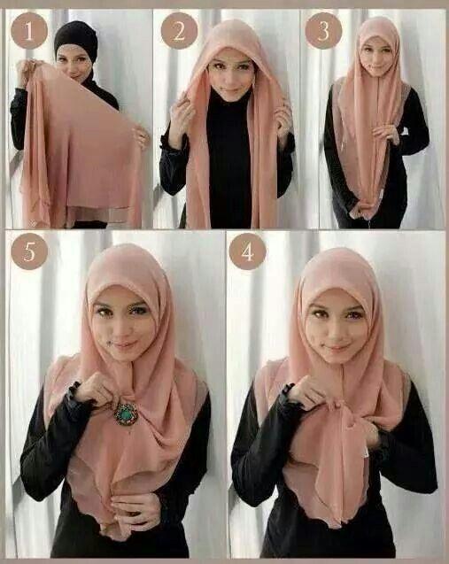 25 Kreasi Tutorial Hijab Segi Empat Simple 2018 Gaya Hijab