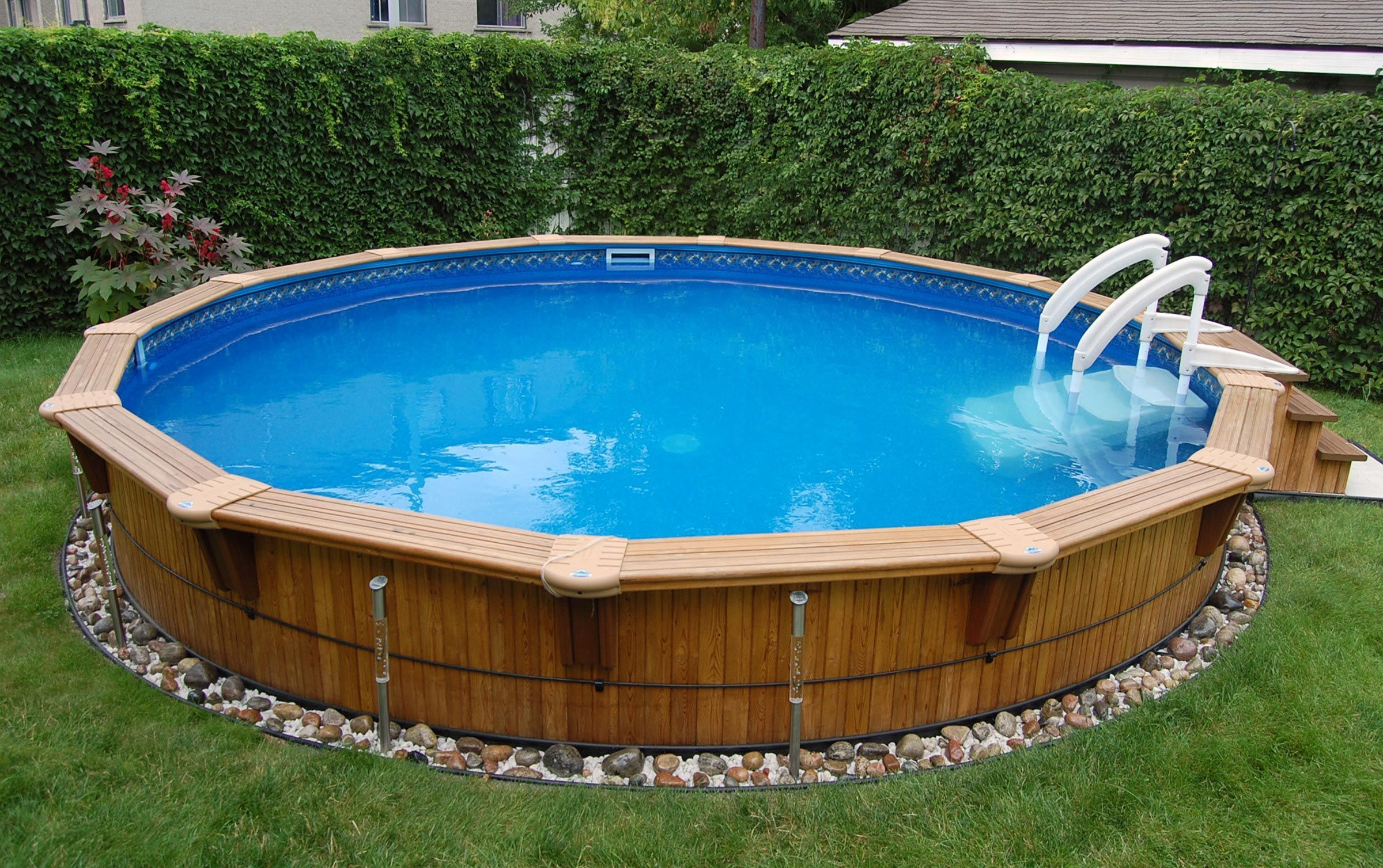 aqua wood round semi in ground wood pool outdoor living pinterest piscine piscine bois. Black Bedroom Furniture Sets. Home Design Ideas