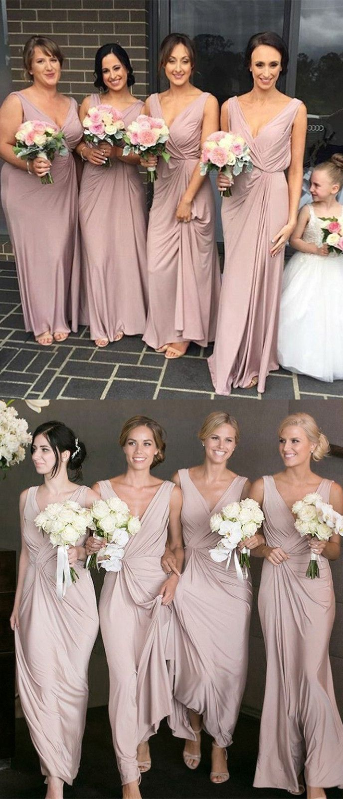 Elegant v neck blush pink long bridesmaid dress prom dress