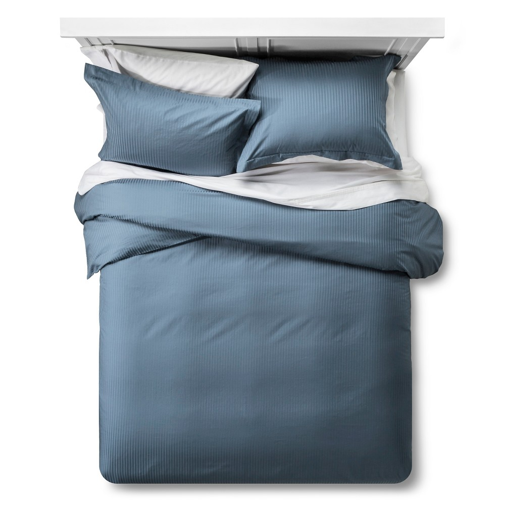 500 Tc Damask Stripe Duvet Amp Sham Set Queen Blue