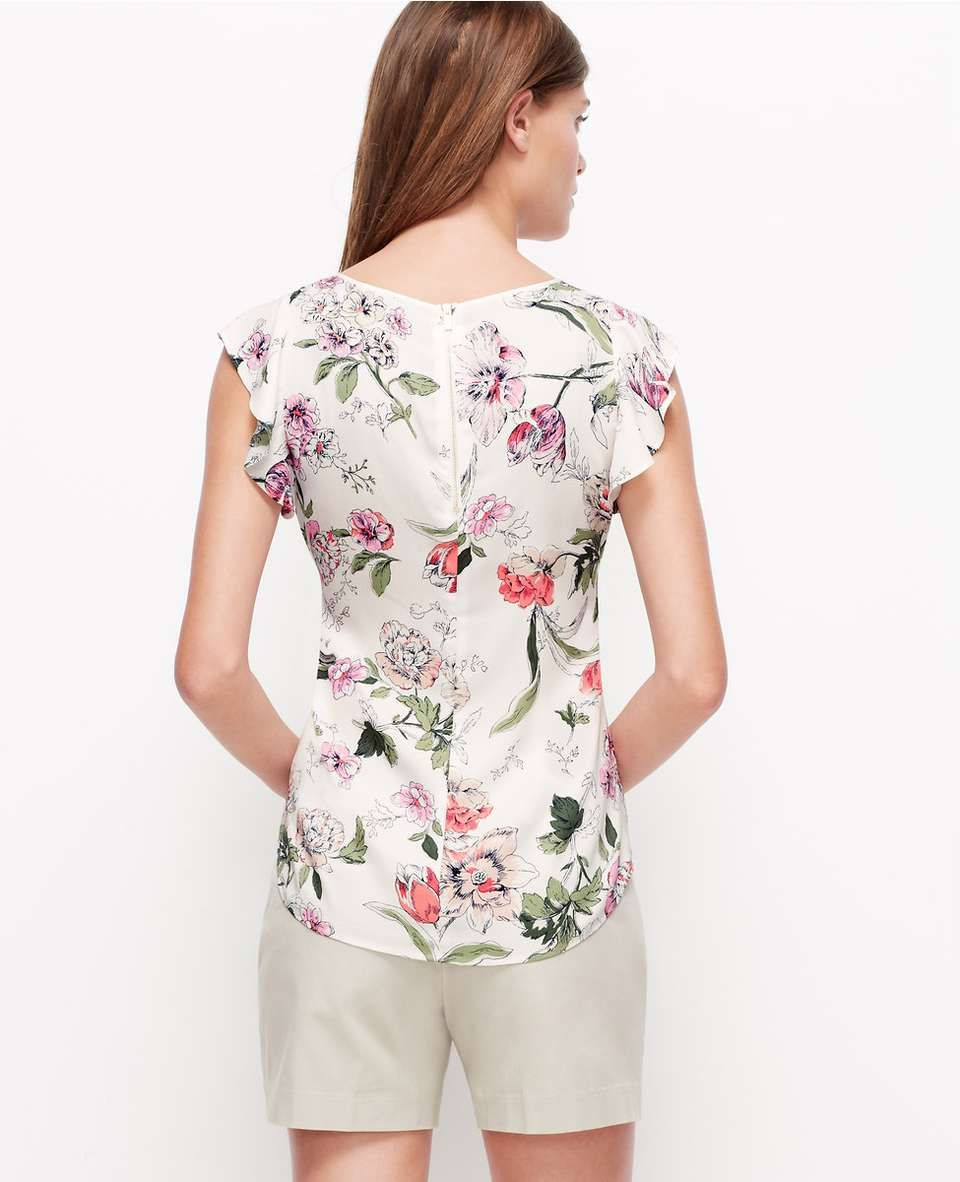ann taylor Floral Flutter Sleeve Top for $70 / Wantering