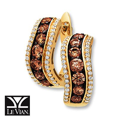 Levian Chocolate Diamonds 1 5 Ct Tw Earrings 14k Honey Gold