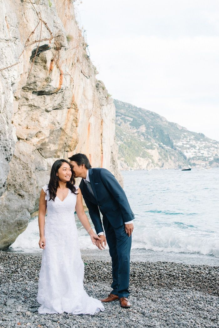 Breathtakingly Romantic + Beautiful Positano Elopement and Her Alfred Angelo Wedding Dress | Fab Mood