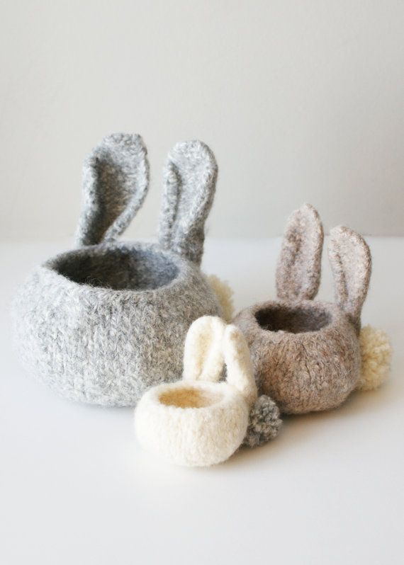 DIY Knitting PATTERN - Knit Wool Felt Bunny Bowls (in 3\