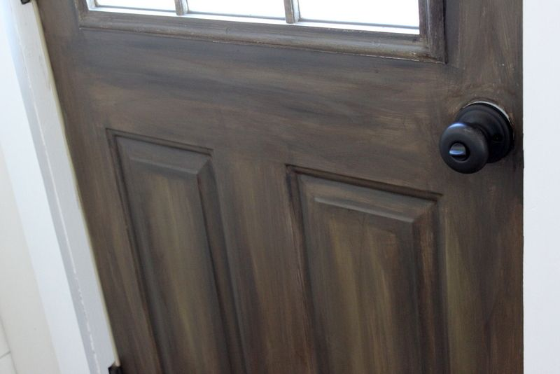 How To Paint An Exterior Door To Make It Look Like Wood Faux Wood Paint Painting Metal Doors Painted Front Doors