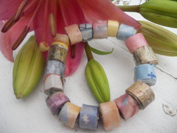 Pastel Bead Bracelet Recycled Magazine Bead Bracelet by PaperKut, $10.00