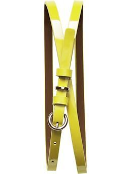 Imagine this on a little black dress....    Patent skinny belt | Banana Republic