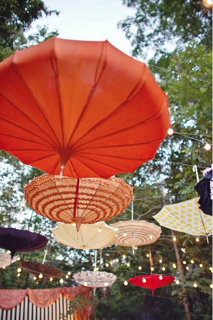 I think this is THE GREATEST idea for a Bridal Shower~ hanging lovely parasols w/ twinkle* lights <3