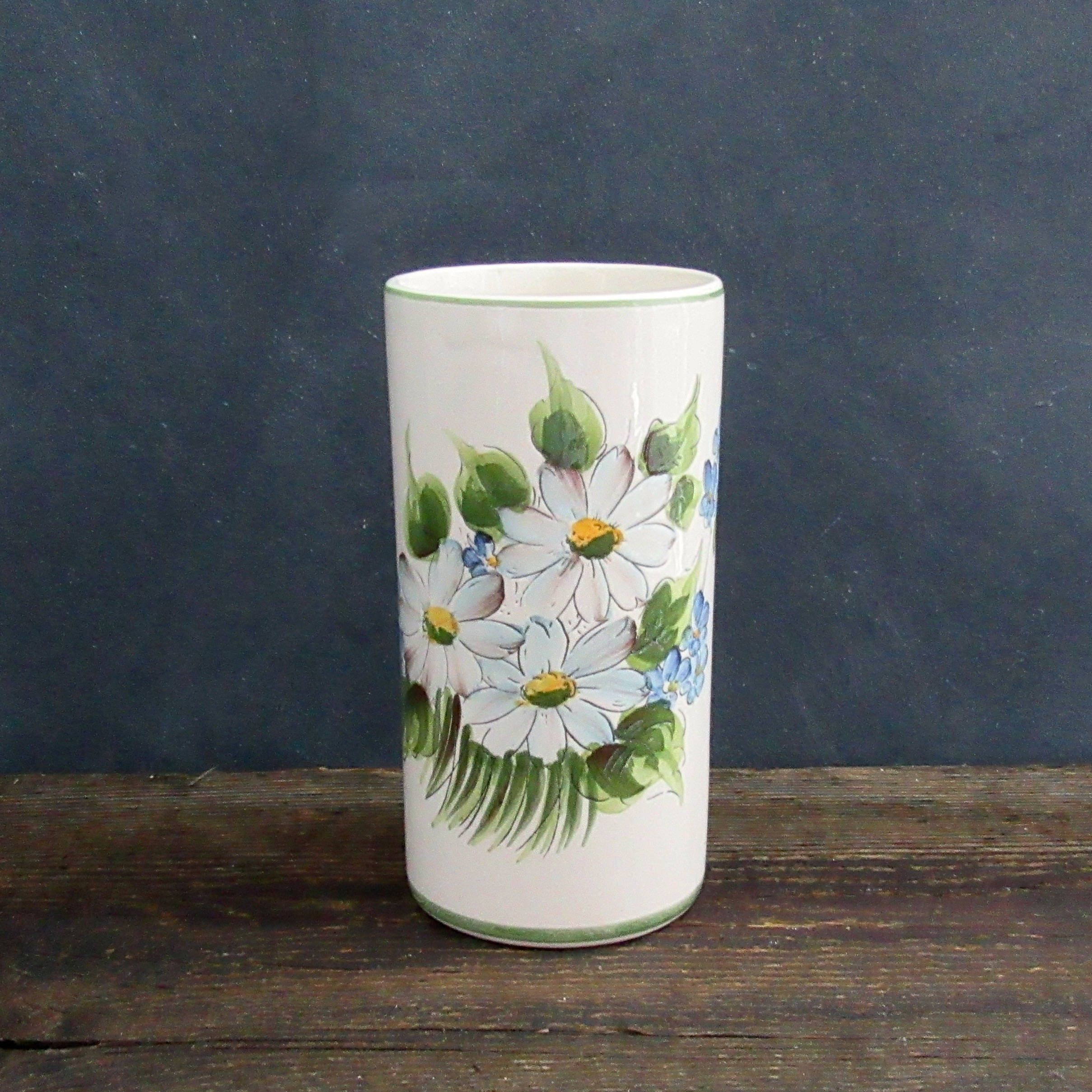 Vintage white vase with hand painted blue and white flowers hand vintage white vase with hand painted blue and white flowers hand painted in brazil reviewsmspy
