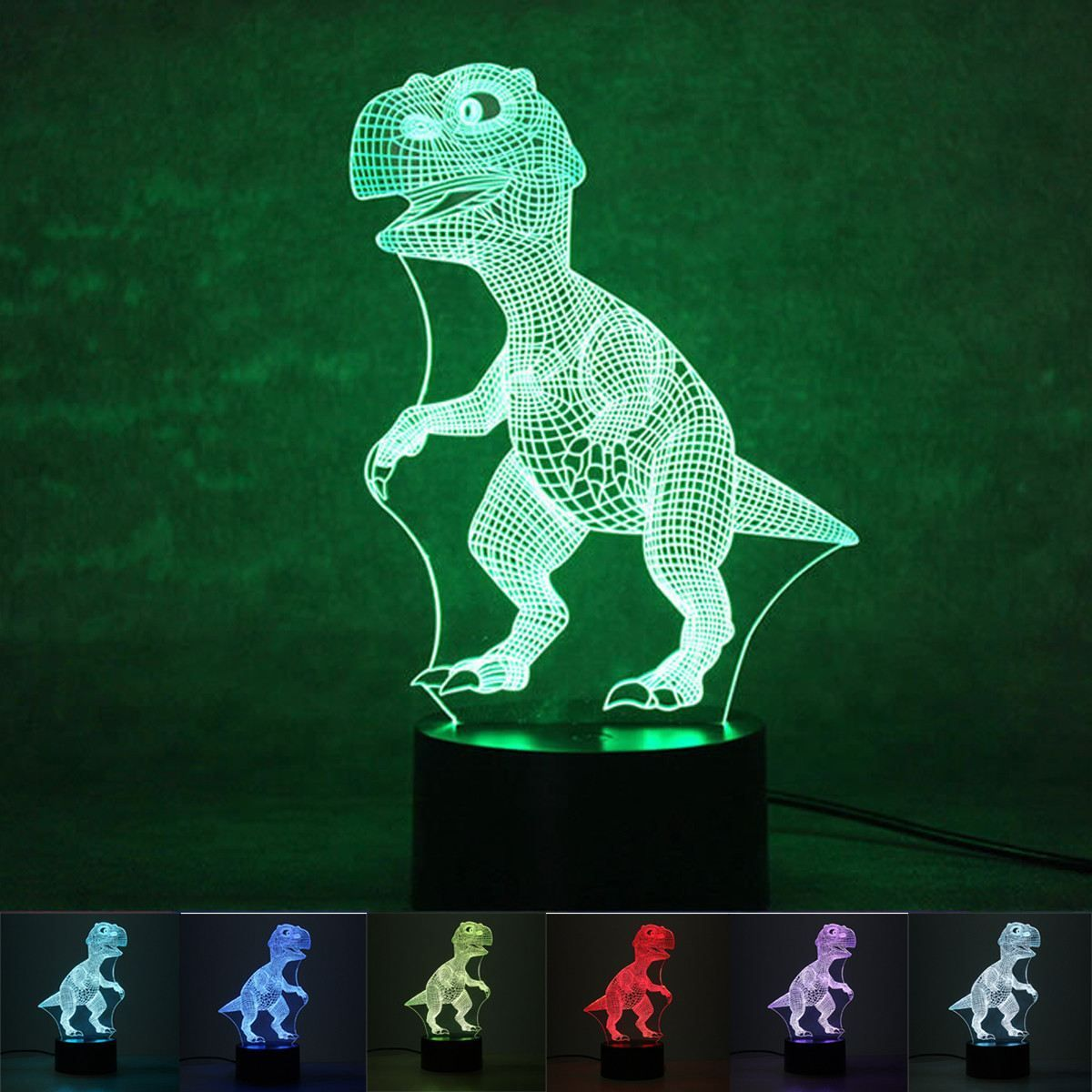 3d T Rex Color Changing Led Dinosaur Hologram Neon Night Lamp Dinosaur Light 3d Light Scared Of The Dark