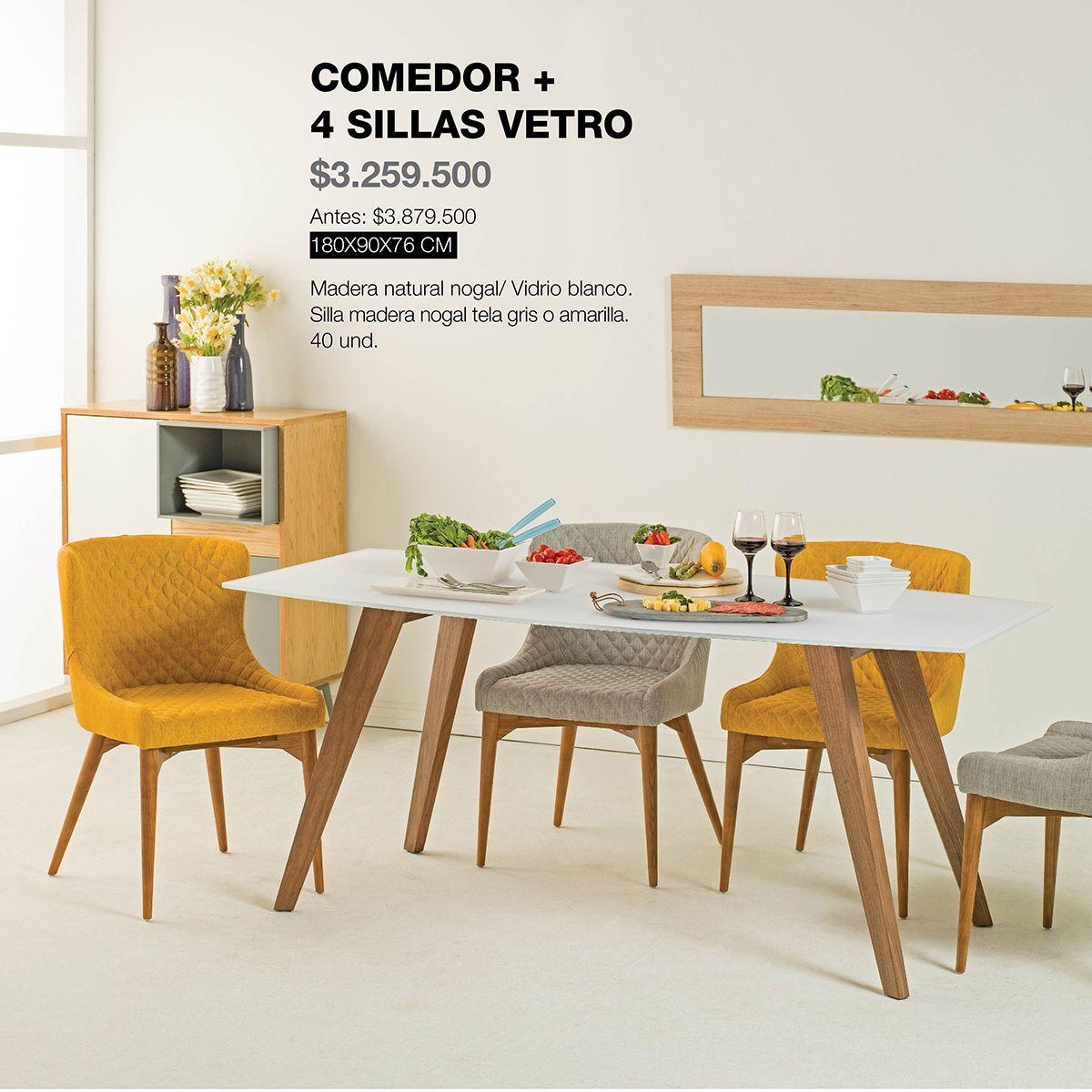 Comedor y sillas vetro vidrio de color blanco y madera for Catalogo sillas comedor
