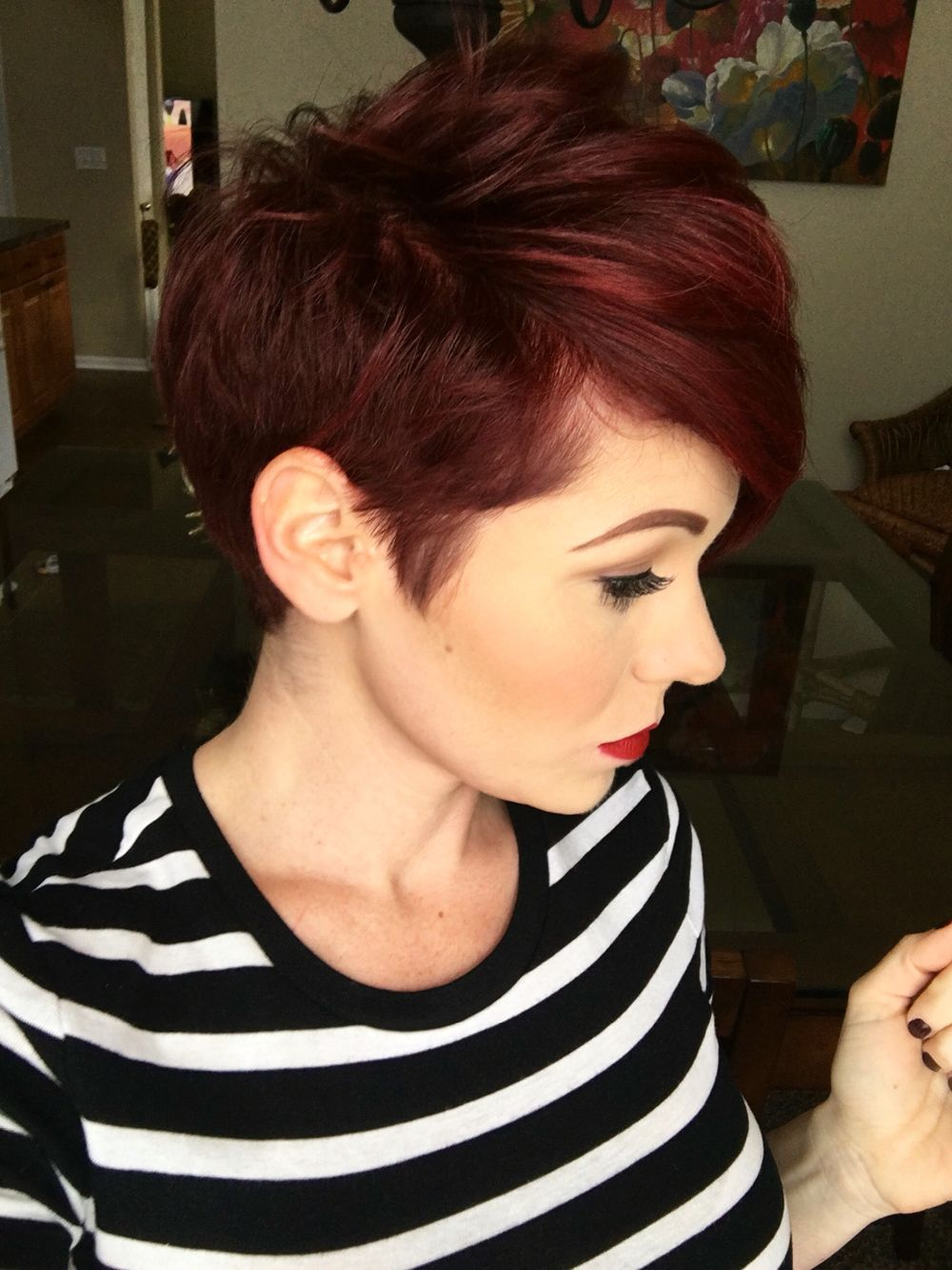 Side view of pixie  Dark red hair color, Short hair styles, Red
