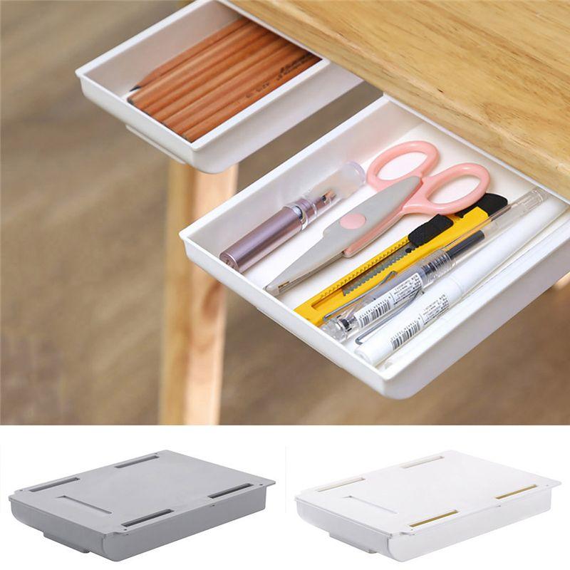 Lncdis Self Stick Pencil Tray Desk Table Storage Drawer Organizer Box Under Desk Stand Walmart Com Walma In 2020 Under Desk Storage Desk Storage Desk Organization