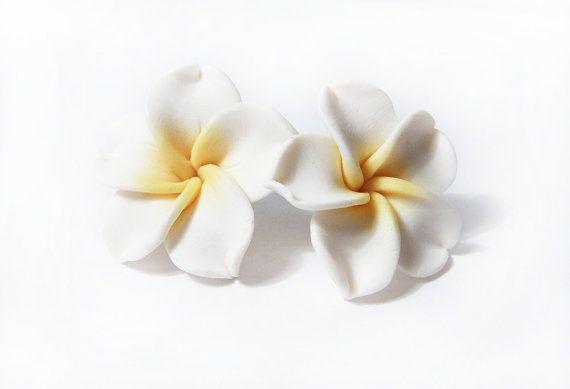 Plumeria Earrings Frangipani White Earrings by IskraCreations, $11.00