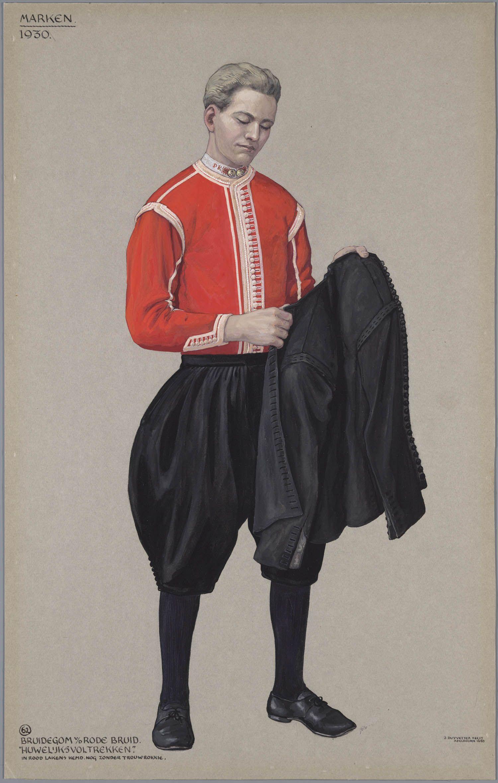 Marken, 1930. Bruidegom van de Rode Bruid. 'Huwelijksvoltrekken.' In rood lakens hemd. Nog zonder trouwrokkie. Jan Duyvetter #NoordHolland #Marken
