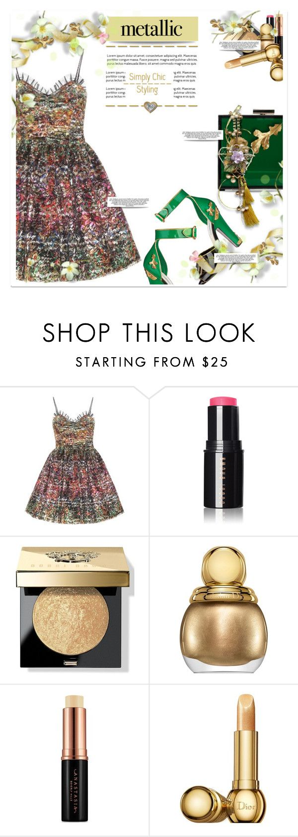 """🎀 #542  #metallicdress"" by wonderful-paradisaical ❤ liked on Polyvore featuring Yves Saint Laurent, Bobbi Brown Cosmetics, Christian Dior, Anastasia Beverly Hills, Oui, Odile!, trending, polyvorecommunity, polyvorecontest, metallicdress and PolyvoreMostStylish"