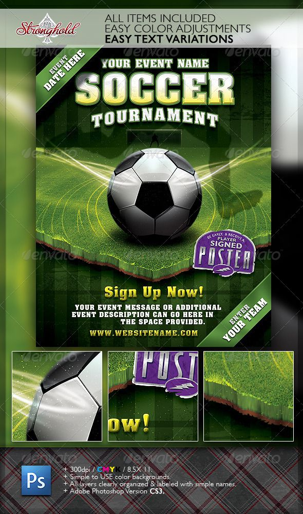 Soccer Tournament Flyer Event Template Graphicriver Stronghold