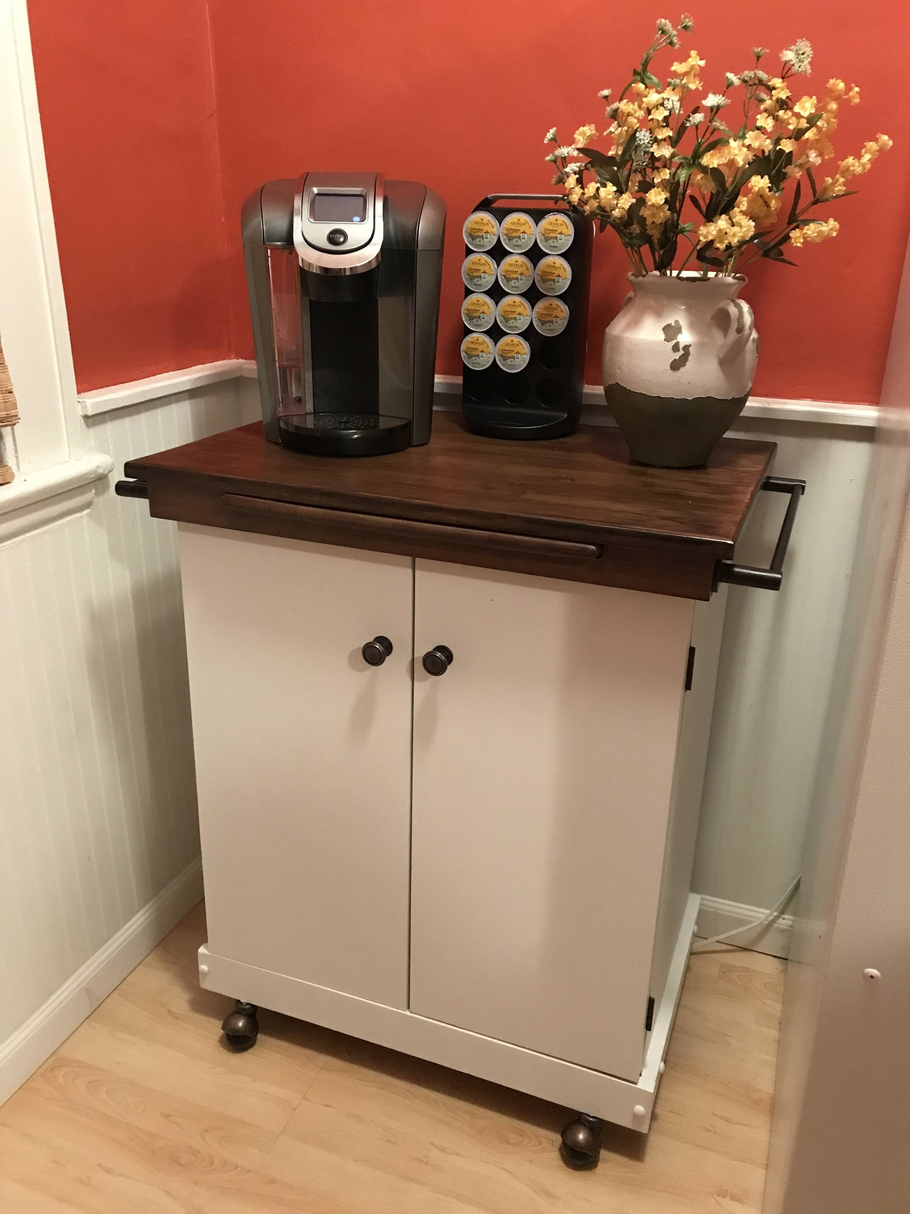 Gave an old microwave cart a facelift handmade crafts