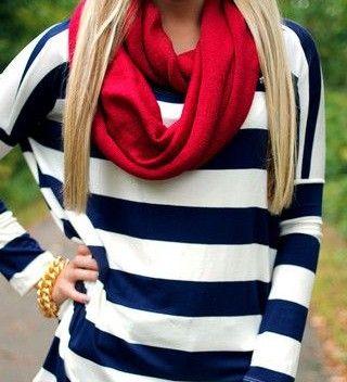Stripe long sleeve && scarf <3