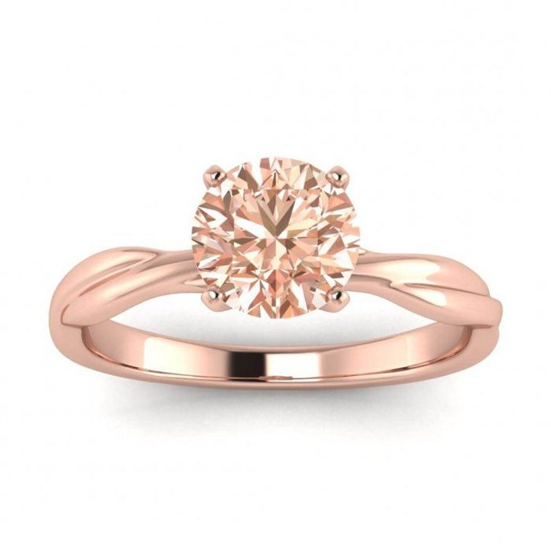 Morganite Celtic Engagement Ring 14k Rose Gold Braided Ring