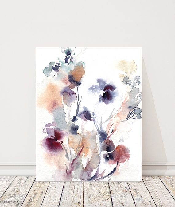 Abstract Purple Botanical Fine Art Print Watercolor Painting