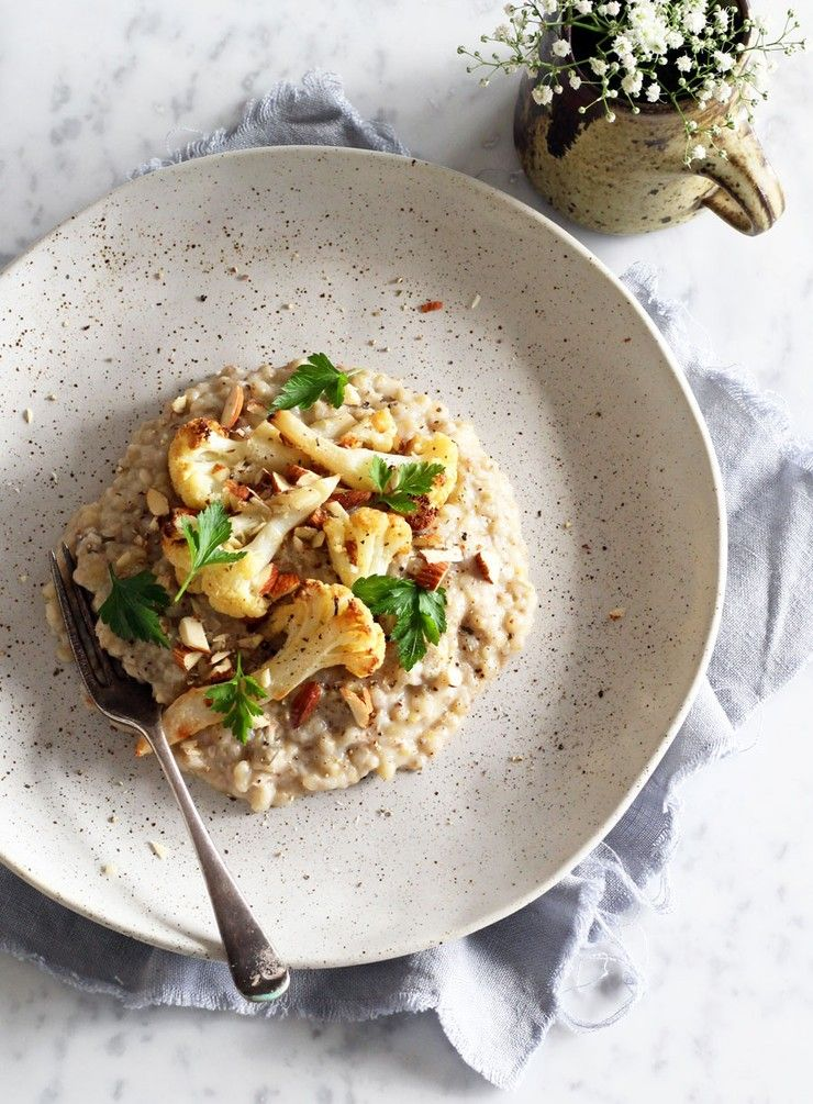 Buckwheat risotto with roasted cauliflower almonds and