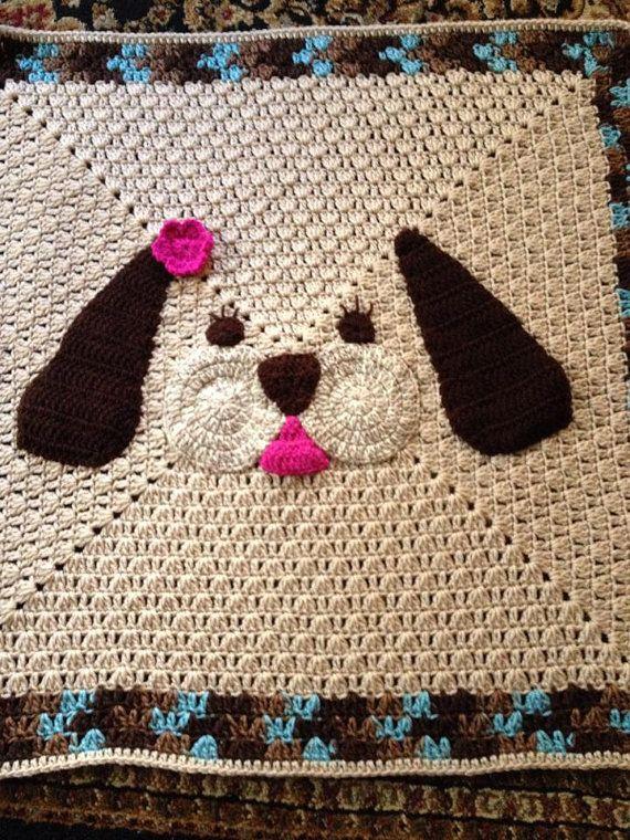 My Lil Puppy blanket, crochet baby blanket | Pinterest | Deckchen ...