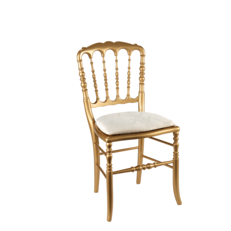 Chaise napol on iii dor e fixe gala blanc cette chaise d - Location de chaise pour mariage ...