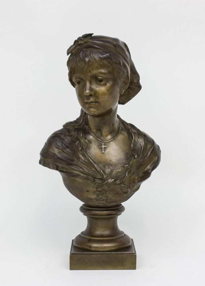Büste eines nachdenklichen Mädchens/Bust Of A Girl, Louis Émile Cana ...