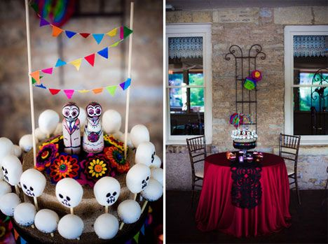 Dia de los muertos party ideas! I like how they have the small paper ...