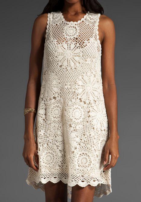 Häkelkleid Kleid häkeln - Doily dress, chart | เสื้อผ้าน่าใส่ ...