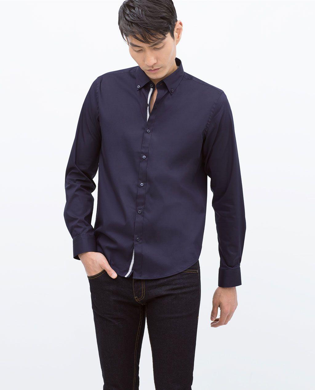 Stretch Shirt With Decorative Stripe From Zara Stretch