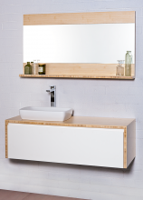 Eco 900 wall hung vanity with Axa H10 600mm basin and Eco 900mm mirrored shelf