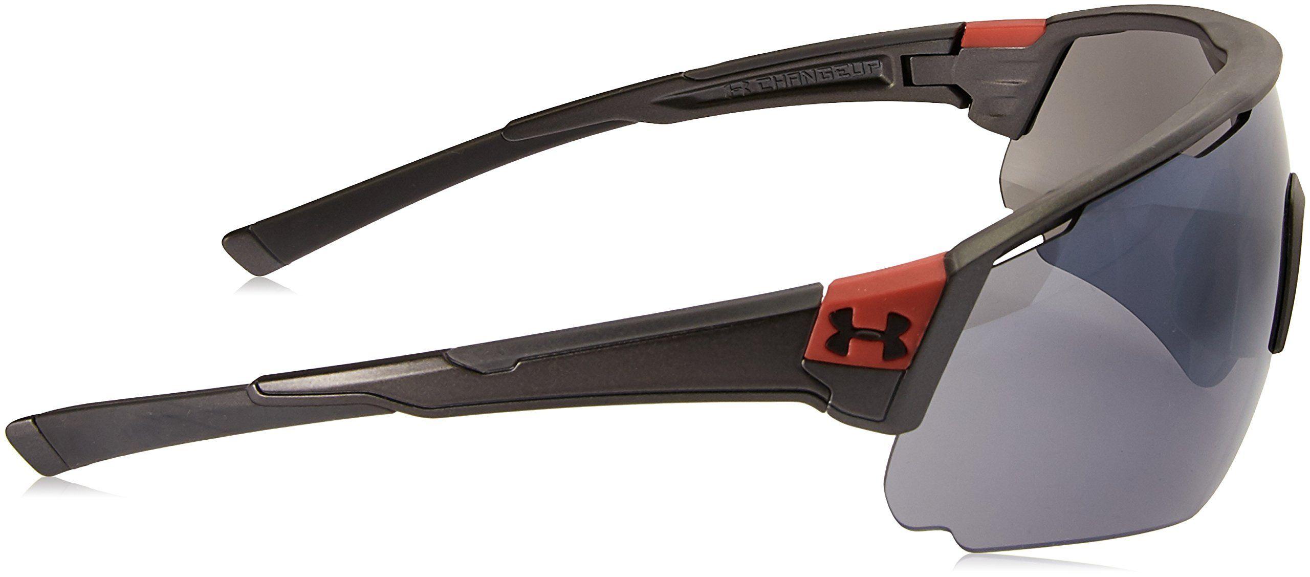 e525ea8313c47 Under Armour UA Changeup Polarized Wrap Sunglasses UA Changeup Satin Carbon    Red Frame   Gray