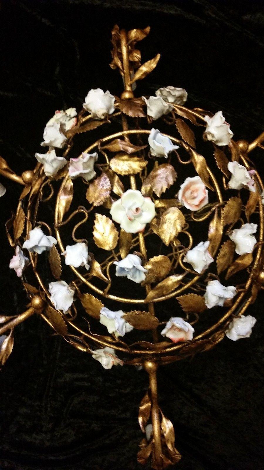 Gorgeous antique gilt metal tole porcelain roses vintage basket gorgeous antique gilt metal tole porcelain roses vintage basket chandelier old for sale 39900 arubaitofo Image collections