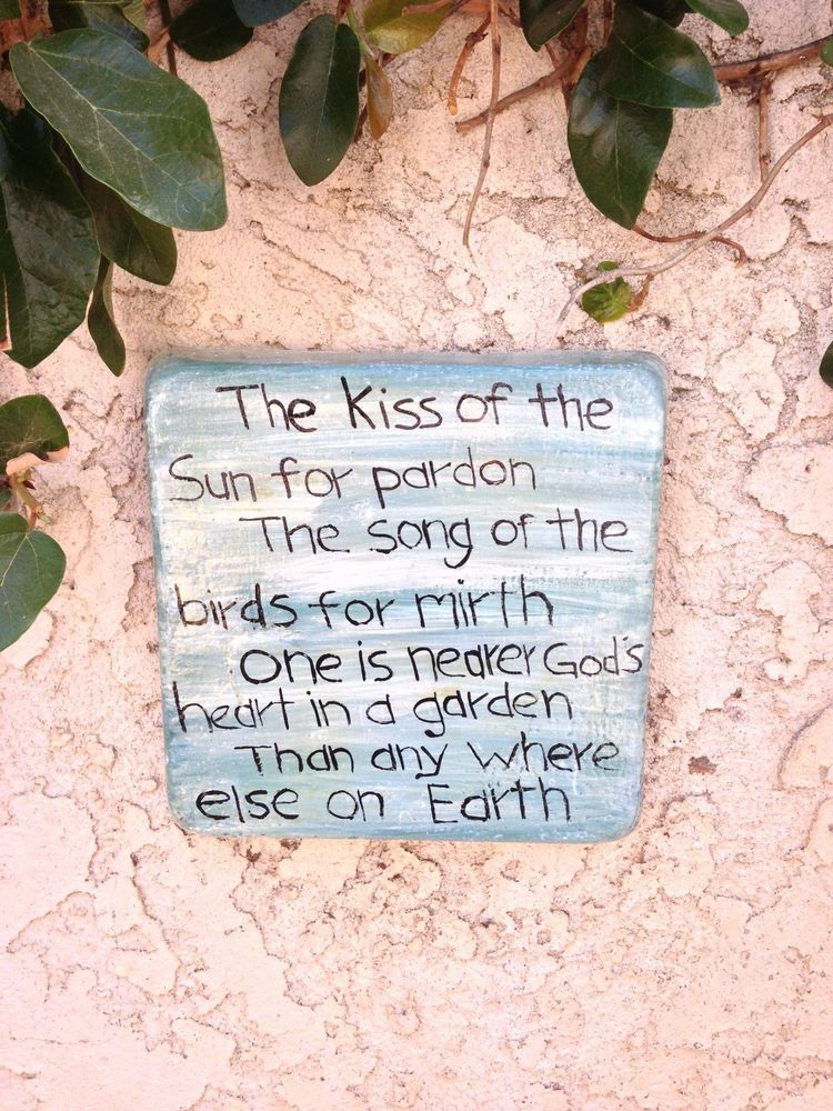 Handcrafted Cement Green White Square Wall Plaque With Poem