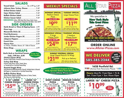 Our All Star Pizza deals