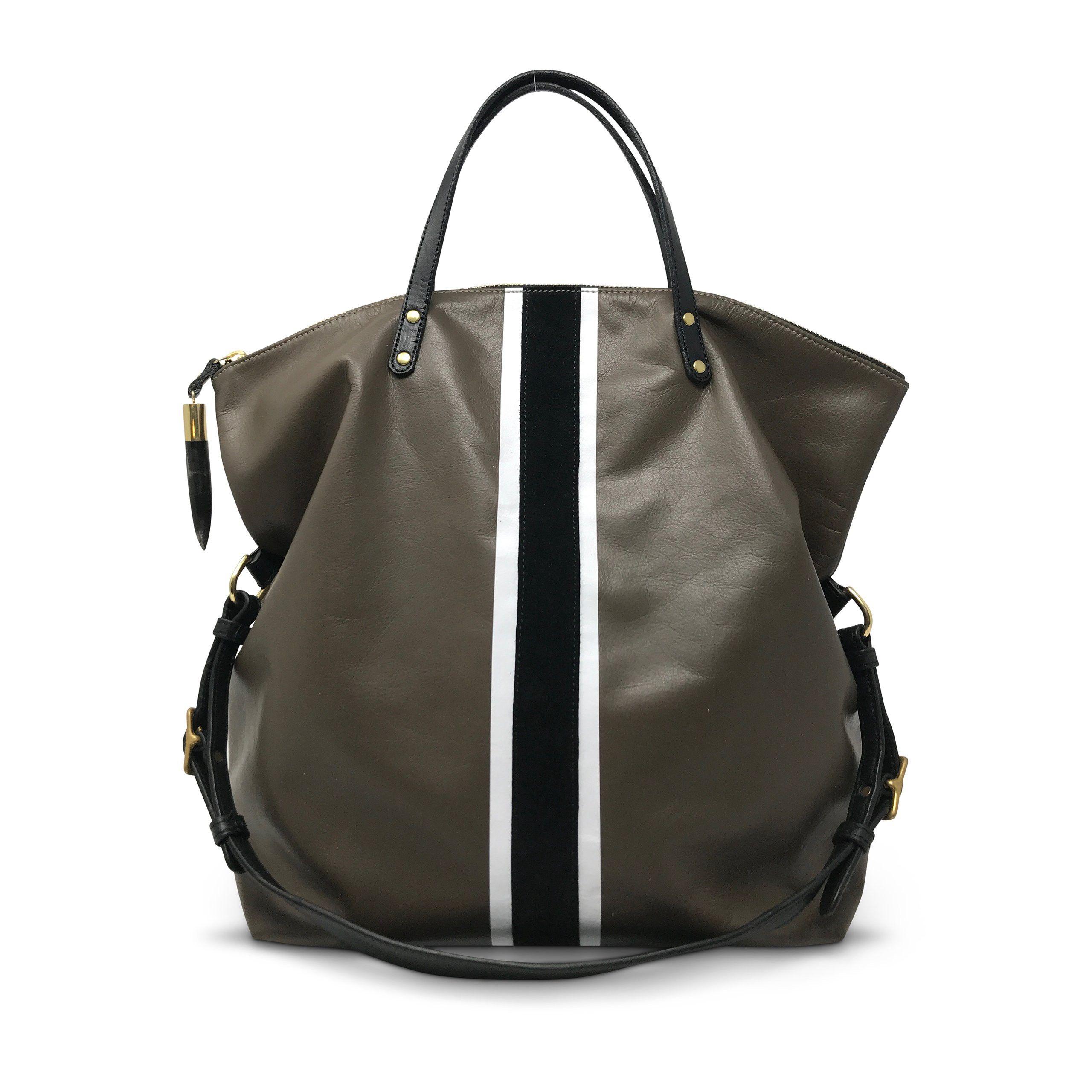 b66b876350 Morleigh Foldover Handbag Tote - Truffle with B+W Stripe by Kempton ...
