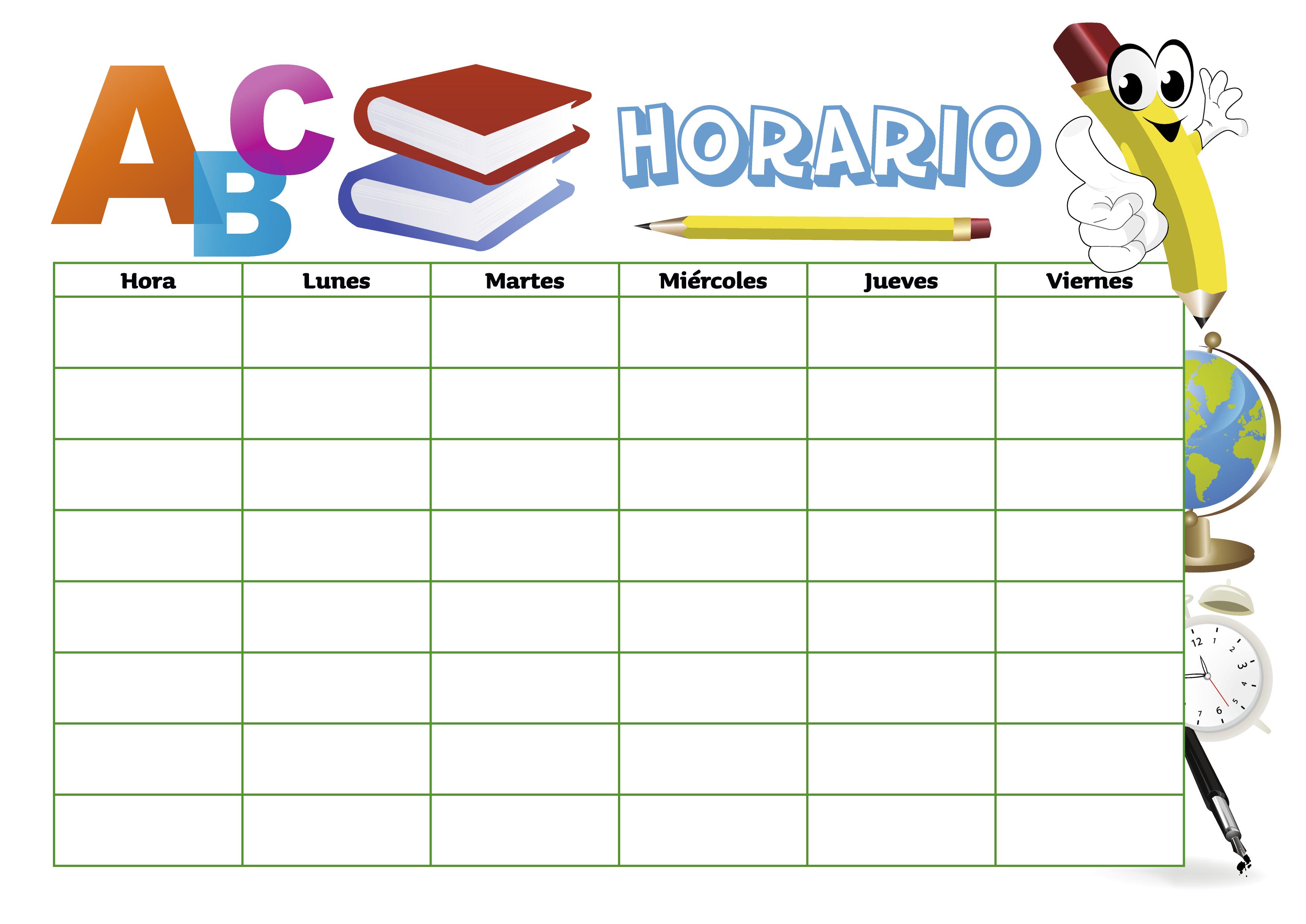 Horario para estudiantes 2 | Educación, escolar e infantil - vector ...