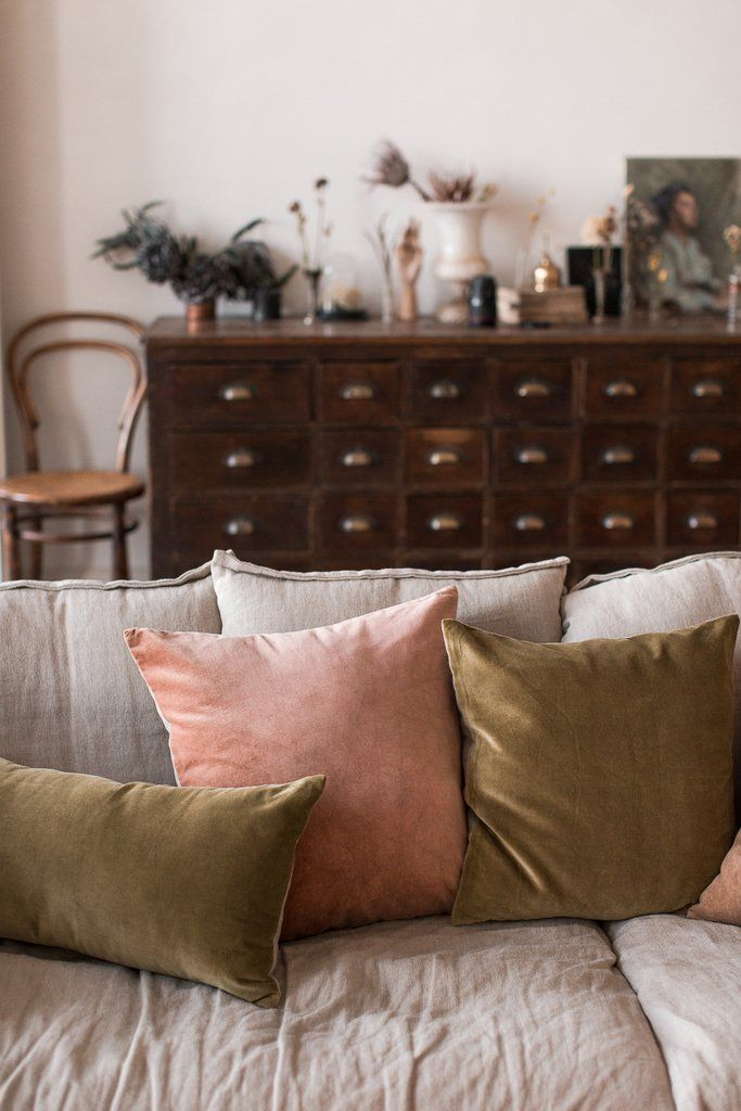 hand dyed velvet cushions in olive green and copper