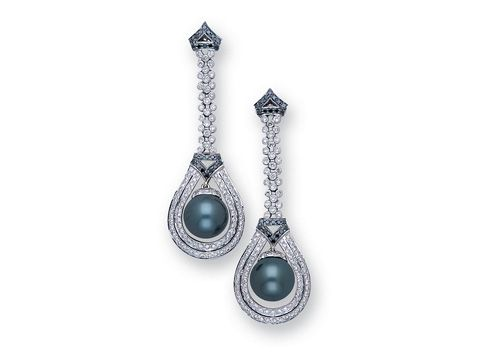 A Pair of Grey South Sea Cultured Pearl and Diamond Ear Pendants.