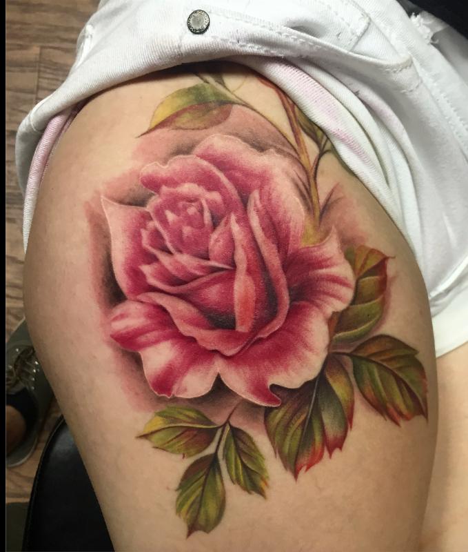 0c7263f47 Vintage Rose Tattoo | Hip Tattoo | @tattoosbycapone | Capone's ...