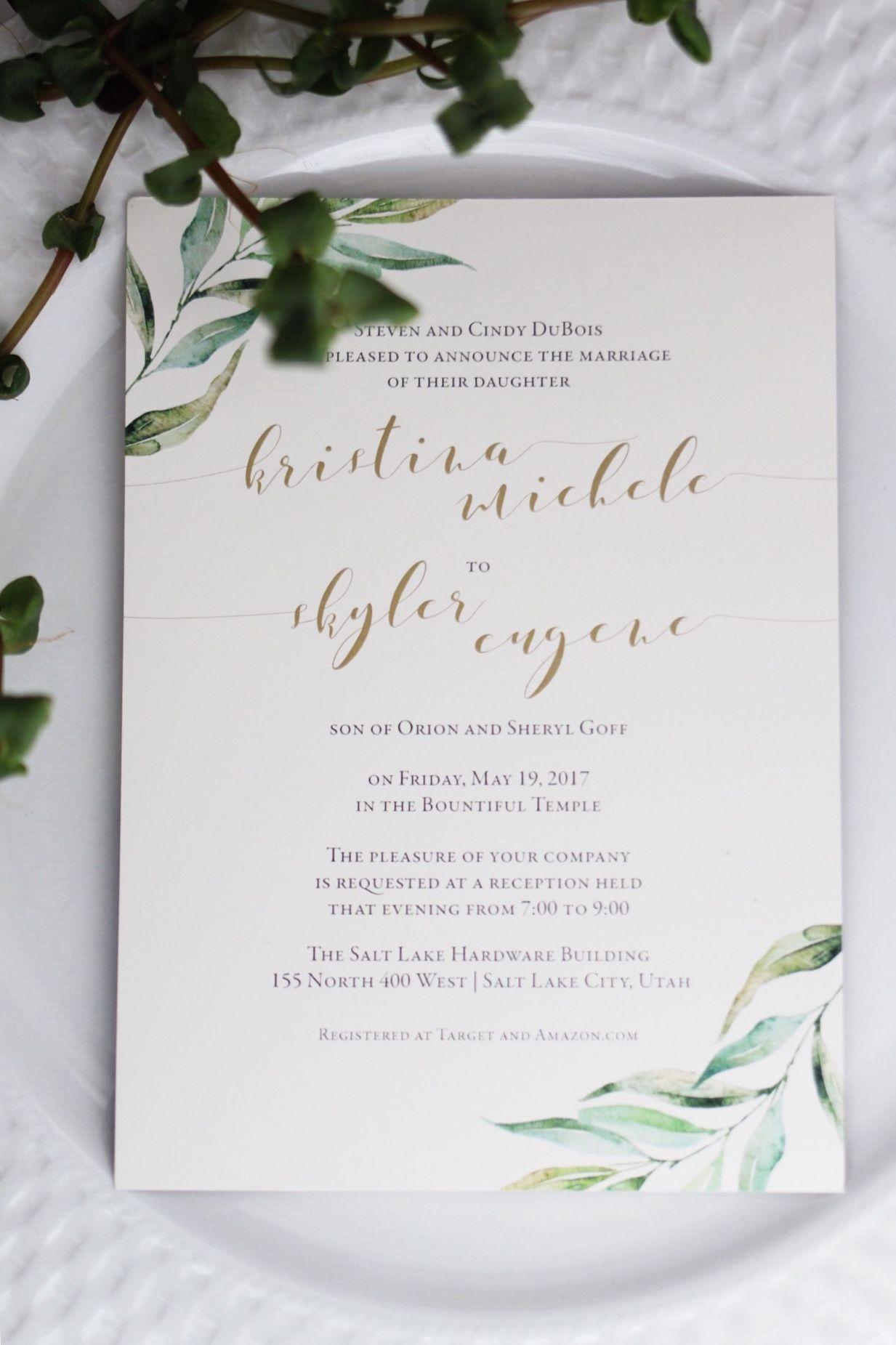Watercolor leafy greenery wedding invitations!