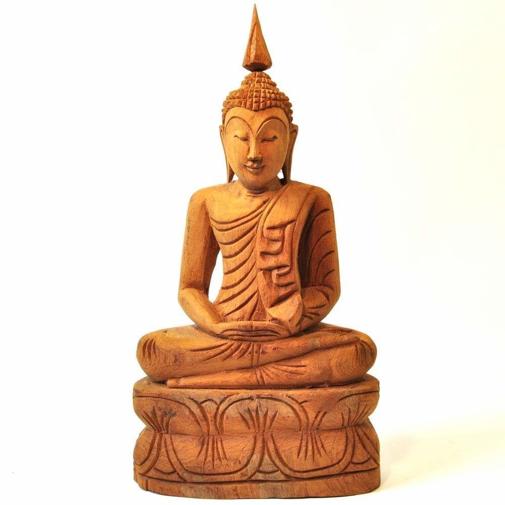 Buddha Figur in Meditation aus hellem Holz, 36cm hoch