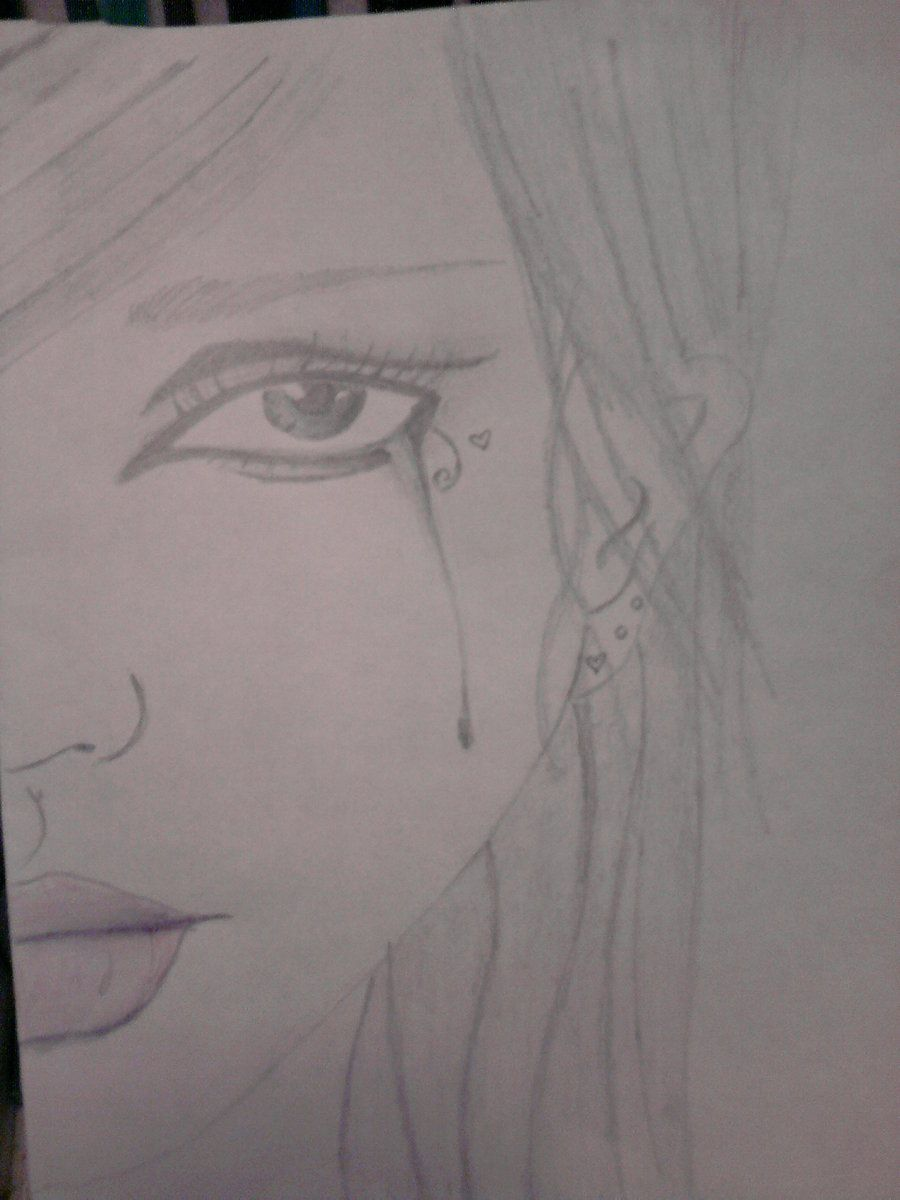 crying girl drawing by me i love art pinterest
